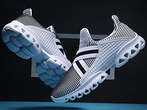 IIIIS-R Zapatos para Correr en Montaña y Asfalto Aire Libre y Deportes Zapatillas de Running Padel para Hombre Hombre Mujer Verano blanco