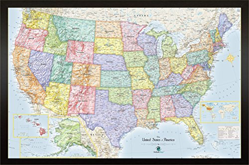 Homemagnetics 33 x 22 Blue USA Magnetic Map