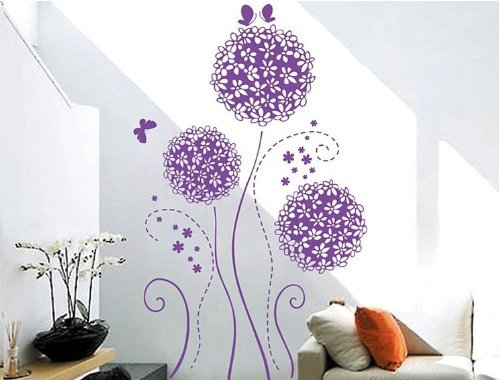 Createforlife Home Decoration Vinyl Wall Sticker Decals Mural Art Purple Butterflies and Blossoms by G5ruishername