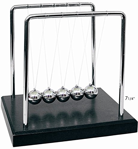 "PowerTRC® Newtons Cradle Balance Balls 7 1/4"" - Black Wooden Base"