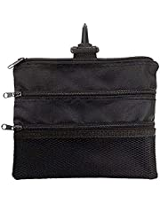 JP Lann Golf Multi-Pocket Tote Hand Bag and Valuables Pouch (Black), 7.75 x 6.25-Inch