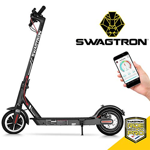 Swagtron High Speed Electric Scooter with 8.5' Cushioned Tires, Cruise Control and 1-Step Portable Folding - Swagger 5