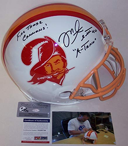 Mike Alstott Autographed Hand Signed Tampa Bay Buccaneers Bucs Throwback Full Size Authentic Pro Football Helmet - with A-Train and Fire Those Cannons inscriptions - ()
