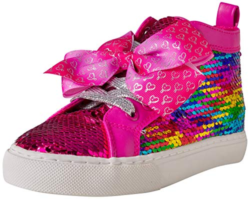 JoJo Siwa Girls' Reversible Sequins High Top Sneakers, Rainbow/Pink Cap, Size 13 Little Kid'