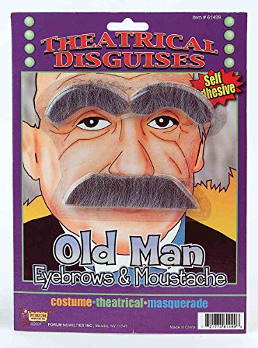 Forum Novelties Party Supplies Old Man Eyebrows And Moustache Accessory, Gray, One Size