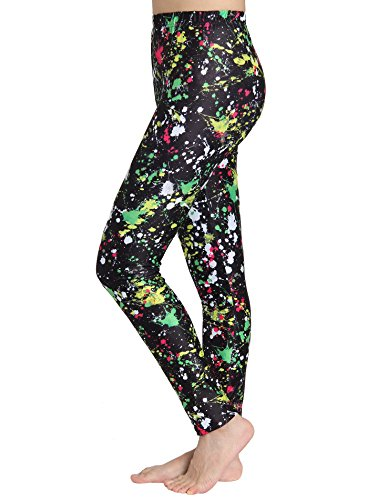 JustinCostume Women's 80's Neon Paint Splatter Leggings Paint XS/S