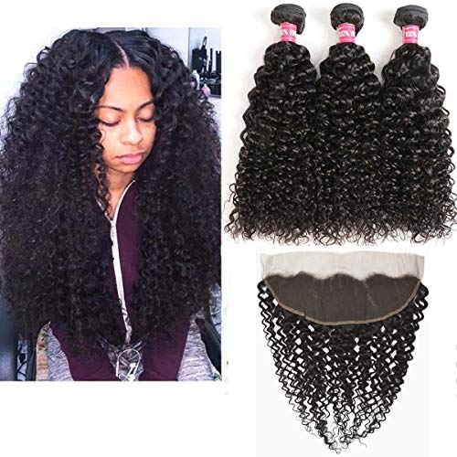 Brazilian Virgin Kinky Curly Human Hair 3 Bundles with Frontal Closure 13 X 4 Ear To Ear Lace Frontal with Curly Bundles Weave Weft Hair Extensions Natural Black (Kinky Curly 12 14 16 W 10 Frontal) ()