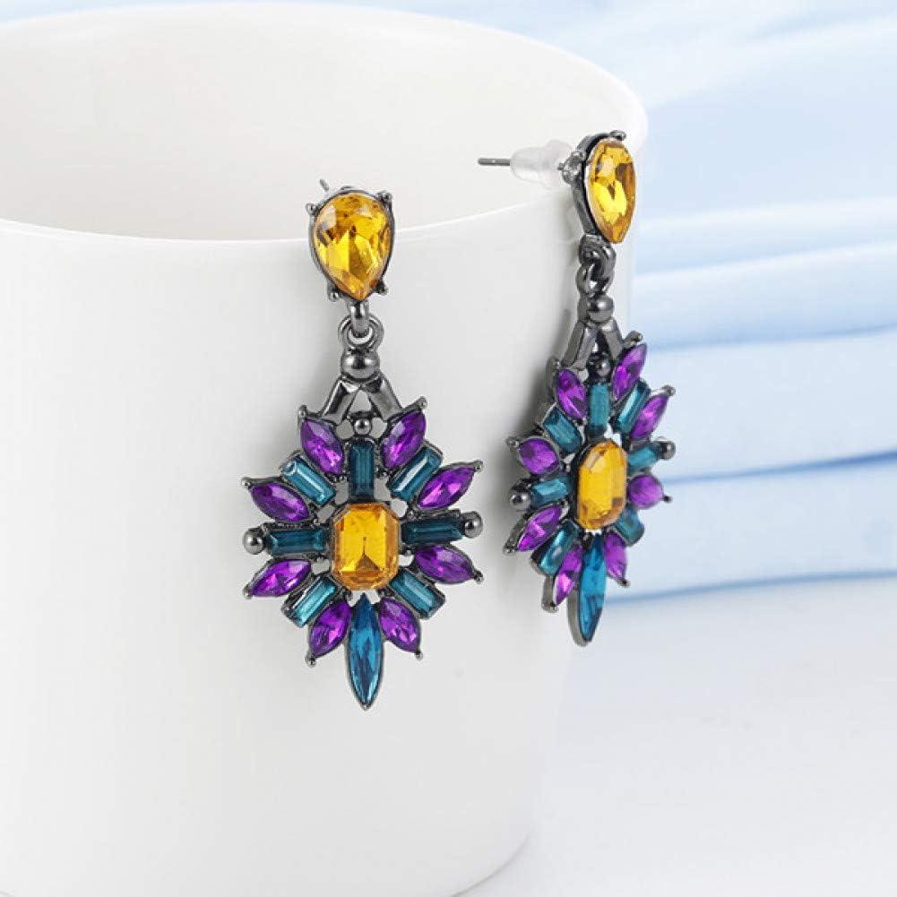 SSEHXL Pendientes Cristal de Colores Pendientes de Gota de la Vendimia Gota de Agua Diseño de la Flor Pendientes de Color Rosa Joyería Bohemia Joyería deBoda
