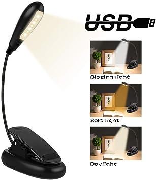 360/° Flexibel Kindle LED Klemmleuchte Schlafzimmer USB Wiederaufladbar f/ür Nacht Lesen Energieklasse A+++ 3 Helligkeit TOPELEK LED Buchlampe Klemme mit 4 LEDs B/üro. Leselampe Buch