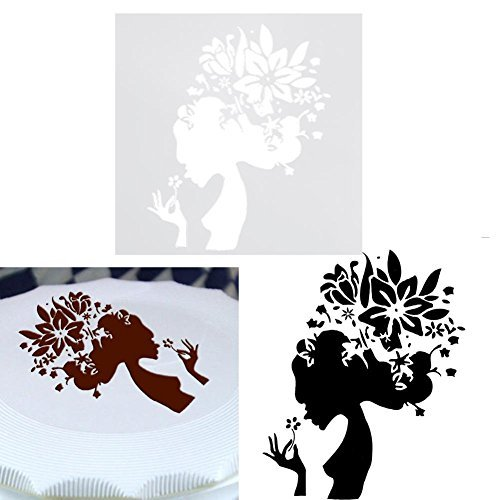 Whitelotous Cake Spray Mold Fondant Decorating Tool DIY Craft Cake Stencil Template Spray Art Cake Mold(Style9)