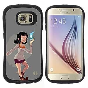 Pulsar iFace Series TPU Silicona Carcasa Funda Case para Samsung Galaxy S6, Magical Girl Poder Espiritual cómica de Dibujos Animados