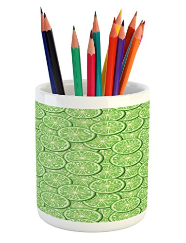 Lunarable Food Pencil Pen Holder, Bunch of Sliced Limes Background Yummy Fruit Fresh Tropical Vitamin Picture Print, Printed Ceramic Pencil Pen Holder for Desk Office Accessory, Fern Green
