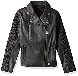 GUESS Big Girls\' Faux Leather Jacket, Jet Black Frost Grey, 14