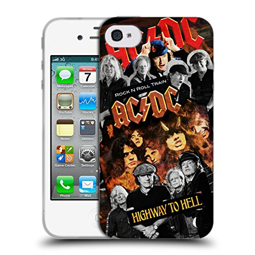 Officiel AC/DC ACDC Groupe Collage Étui Coque en Gel molle pour Apple iPhone 4 / 4S
