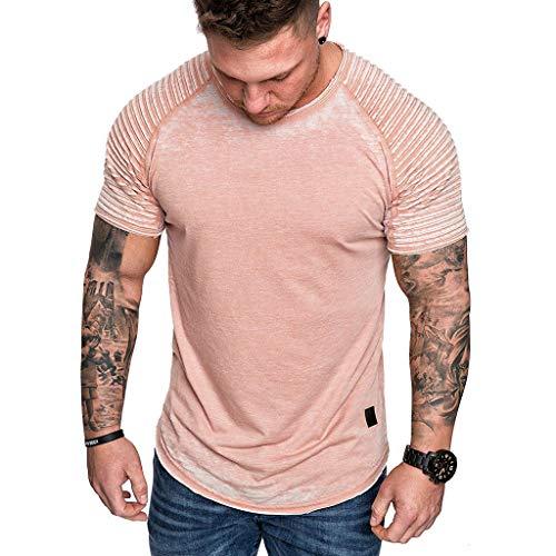 Fashion Men's Summer Pleats Slim Fit Raglan Short Sleeve Pattern Top Blouse Tronet Mens Summer t Shirts Short Sleeve