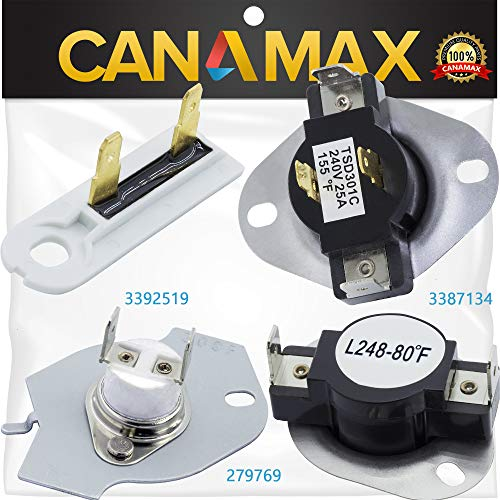 279769 & 3387134 & 3392519 Dryer Thermal Fuse & Thermostat Kit Premium Replacement by Canamax - Compatible with Whirlpool & Kenmore Dryers