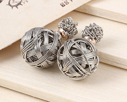 UPC 644721345363, SASAMALL 2015 Hot on Sale Double Sided Bubble Vintage Style Alloy Earrings Ear Rings for Ladies Girls Women (Silver)