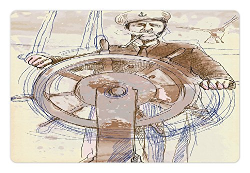Ambesonne Nautical Pet Mat for Food and Water, Sea Captain the Leader Seaman Sketch Art Navigation Navy Classical Flying Bird, Rectangle Non-Slip Rubber Mat for Dogs and Cats, Brown - Cream Captains Bed
