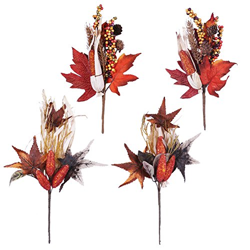 Valery Madelyn Fall Decorations, 4 Packs Fall Picks with Corns, Berries and Maple Leaves, Artificial Floral Picks for Thanksgiving Decorations, Autumn Decor, Crafting and Displaying