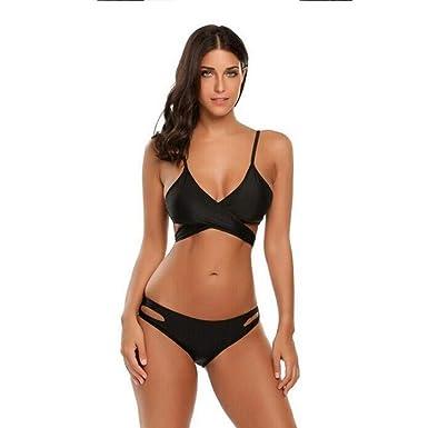 a1774a6fb5a Amazon.com: Women Bikini Swimsuit Set Two-Piece Sexy V-Neck Spaghetti Strap  Solid Criss Cross Bandage Bikini Swimwear Bathing Suits Black: Clothing
