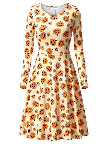 VETIOR Halloween Dress, Women's Cute Halloween Cartoon Printed Autumn Unique Dress 17049-5 Medium -