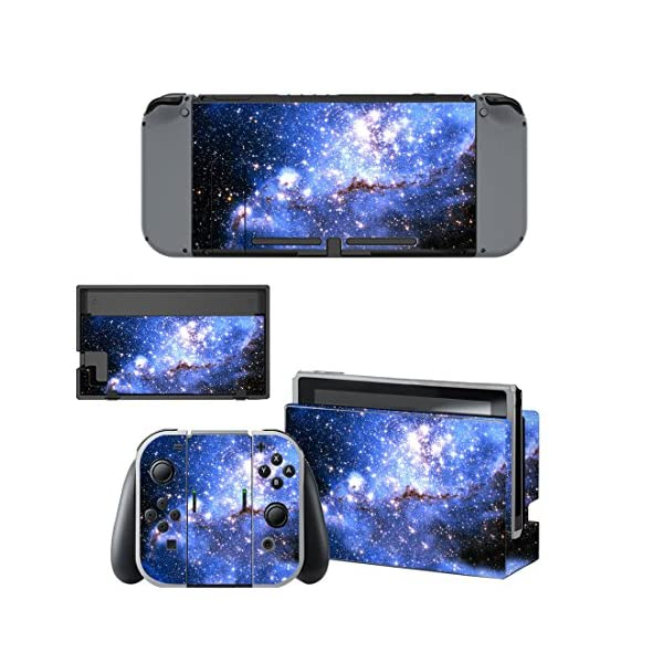 eXtremeRate Full Set Faceplate Skin Decal Stickers for Nintendo Switch with 2Pcs Screen Protector (Console & Joy-con & Dock & Grip) -Blue Galaxy 2