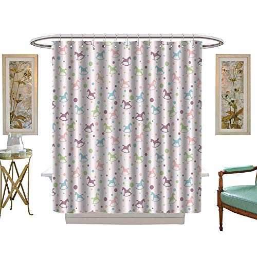 luvoluxhome Shower Curtain Collection by Seamless with Circles and Baby Rocking Horse W72 x L84 Custom Made Shower Curtain