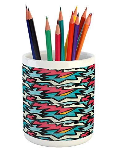 - Ambesonne Urban Graffiti Pencil Pen Holder, Chevron-Like Bold Framed Tangled Stripes and Edgy Zigzags, Printed Ceramic Pencil Pen Holder for Desk Office Accessory, Dark Coral Blue Eggshell