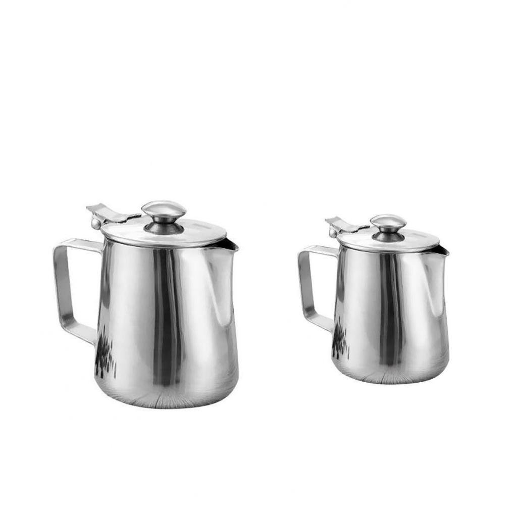 Dovewill Polished Silver Coffee Pitcher Craft Milk Frothing Jug with Lid 350ml+600ml