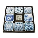 Japanese Pottery Blue Dessert Plates, Set of 8