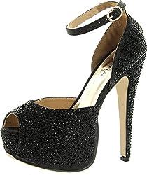 Black Wedge Peep Toe Sandal