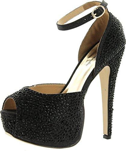 - EYE CANDIE Womens Juliana-77 Fashion Wedge Sandals,Black,7.5