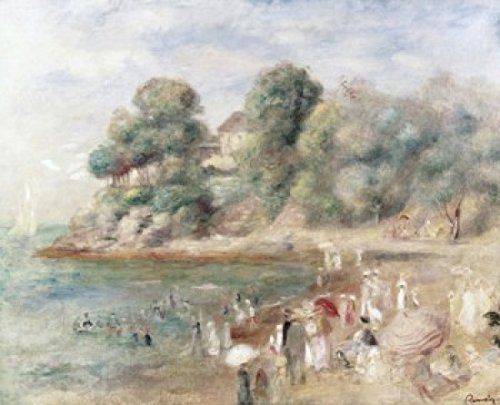 The Beach at Pornic 1892 Pierre Auguste Renoir (1841-1919French) Oil on Canvas Private Collection Poster Print (24 x 36)