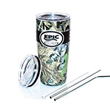 EPIC Camo-Green 20 oz Stainless Steel Tumbler Double Wall Vacuum Insulated Cup Travel Mug Coffee Cup & Thermos Flask same technology as Yeti with 2 Lids and 2 Stainless Steel Straws 8.5 with brush by EPIC