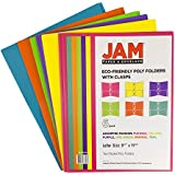 JAM Paper® Plastic 2-Pocket Folders - Eco Friendly Folder with Metal Clasps - Assorted Fashion Colors - 6 Folders per Pack