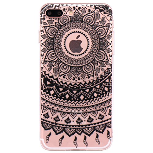 Coque iPhone 7 Plus, JIAXIUFEN Transparent Souple TPU Protecteur Silicone Étui Housse Coque pour iPhone 7 Plus - Black Tribal Mandala
