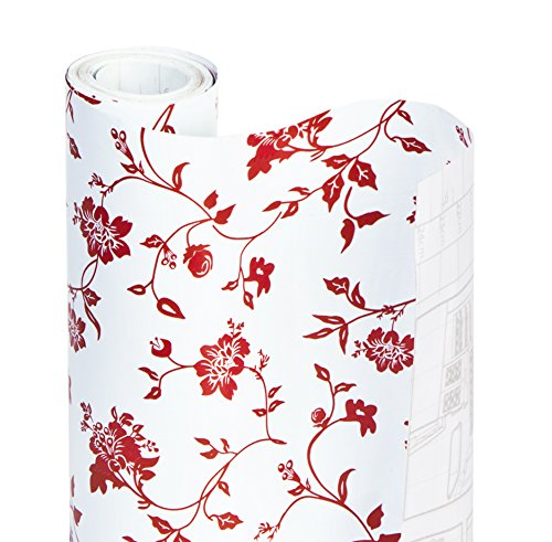 (Smart Design Shelf Liner w/Decorative Adhesive - Wipes Clean - Cutable & Removable Material - Easy Peel Design - for Shelves, Drawers, Flat Surfaces - Kitchen (18 Inch x 20 Feet) [Wisteria Red])