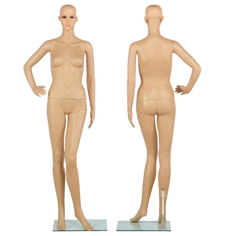 """Yaheetech 68.9""""Full Body Female Mannequin Adjustable Realistic Mannequin Display 360 Degree Swivel Head W/Glass Base"""
