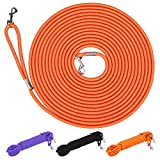 Hi Kiss Check Cord Large,Medium Small Dogs/Puppy Obedience Recall Training Agility Lead - 15ft 30ft 50ft Training Leash - Great for Training, Play, Camping, or Backyard Orange 15 Feet