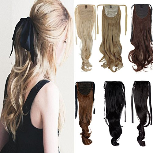 FUT Binding Ponytail One Piece Clip in Curly Pony Tial Hair Extensions Wrap Around Ponytail 18inch 100g for Girl Lady Women Natural Black
