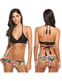 Ekouaer Women Bikini Fashion Sexy Swimsuits Printed Bottom Cross strap