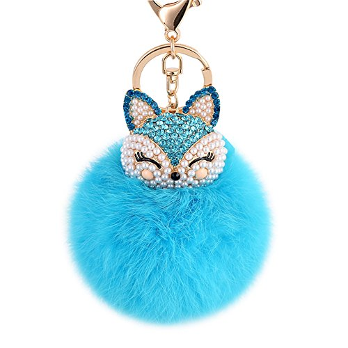 Genuine Fox - Boseen Genuine Rabbit Fur Ball Pom Pom Keychain with A fashion Alloy Fox Head Studded with Synthetic Diamonds(Rhinestone) for Womens Bag Cellphone Car Charm Pendant Decoration(Bright Blue)