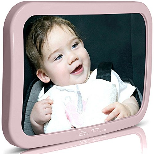 Baby Backseat Mirror for Car - Pink | View Infant in Rear Facing Car Seat - 100% Lifetime Satisfaction Guarantee - Best Newborn Safety With Secure Headrest Double-Strap (Pink) (System Infant Safest Travel)