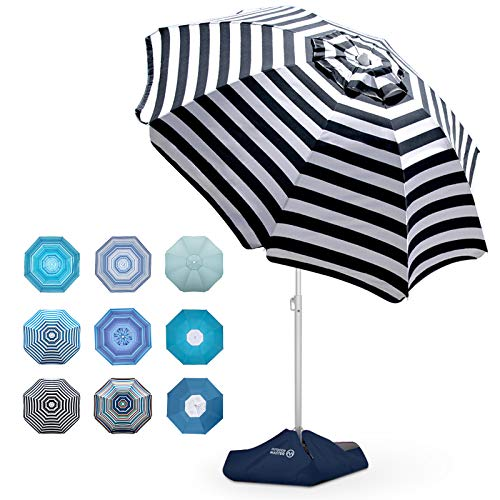 Beach Umbrella - 6.5ft Heavy Duty Windproof Tilt Portable Umbrella with Sand Anchor & Sand Bags UPF 50+ PU Coating with Carry Bag for Patio and Outdoor - Blue/Red Striped