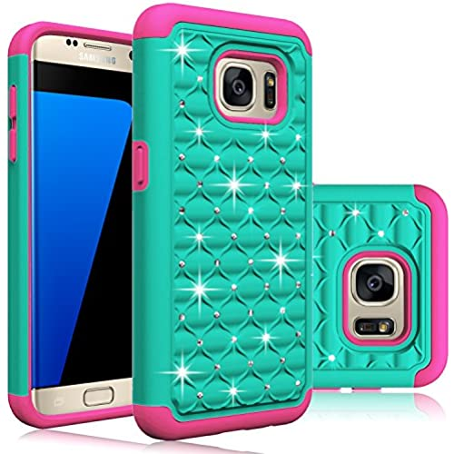 Galaxy S7 Edge Case, HengTech (TM) Premium Durable Hard & Soft Hybrid Dual Layer Studded Rhinestone Bling Armor Sales