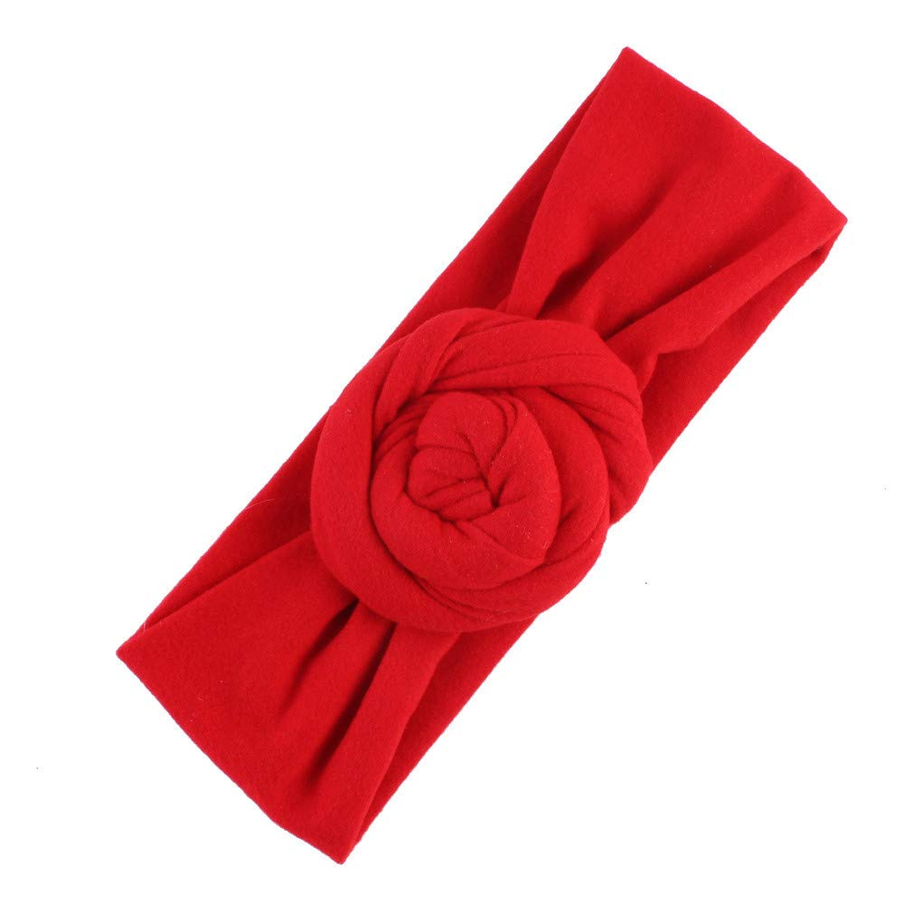 NUWFOR Cute Kids Girls Baby Toddler Turban Knot Headband Hair Band Accessories Headwear Red