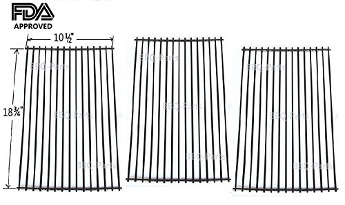 Hongso PCD453 BBQ Barbecue Replacement Porcelain Steel Cooking Grill Grid Grate for Master Centro, Charbroil, Sam's Club, Members Mark, Jenn-air, and Other Model Grills, Set of 3