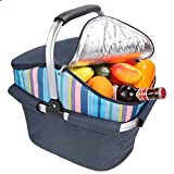 Cheap yodo Collapsible Cooler Bag Insulated Picnic Basket 24L Family Size with Sewn in Frame for Party Beach Picnics Camping Fishing Sporting Music Events, Roof Style