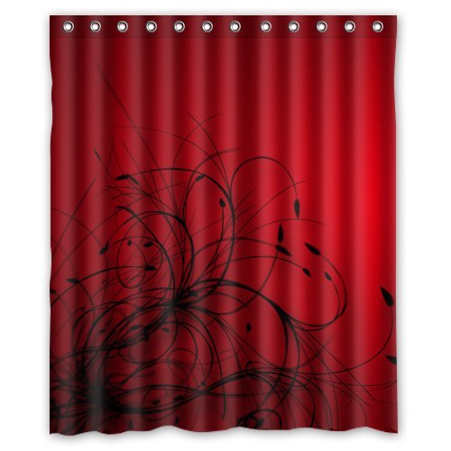 Amazon.com: red black abstract wallpaper Shower Curtain 60 x 72 Inch ...