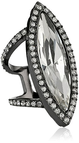 Erickson Beamon Rocks Hematite Crystal Large Oval Ring, Size - Hematite Oval Ring